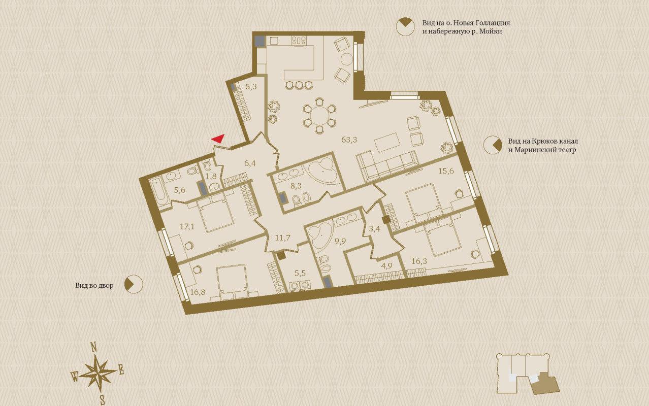 Продажа элитных квартир Санкт-Петербурга. «Art View House», Мойки реки наб., 102 План квартиры