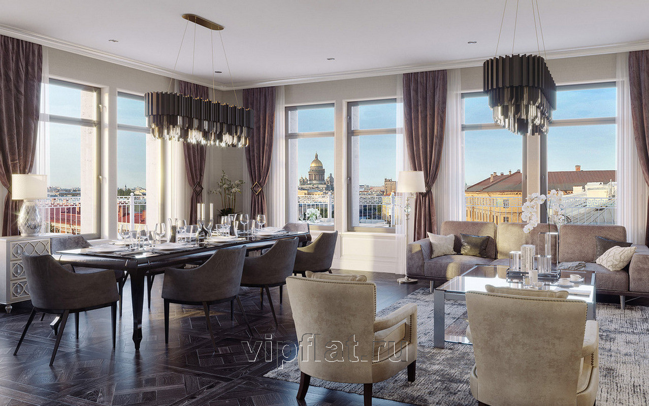 Продажа элитных квартир Санкт-Петербурга. «Art View House», Мойки реки наб., 102 Гостиная с панорамными окнами. Дизайн-проект