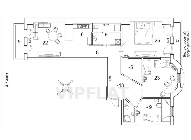 Продажа элитных квартир Санкт-Петербурга.  4-я линия В.О., 41  Вариант планировки