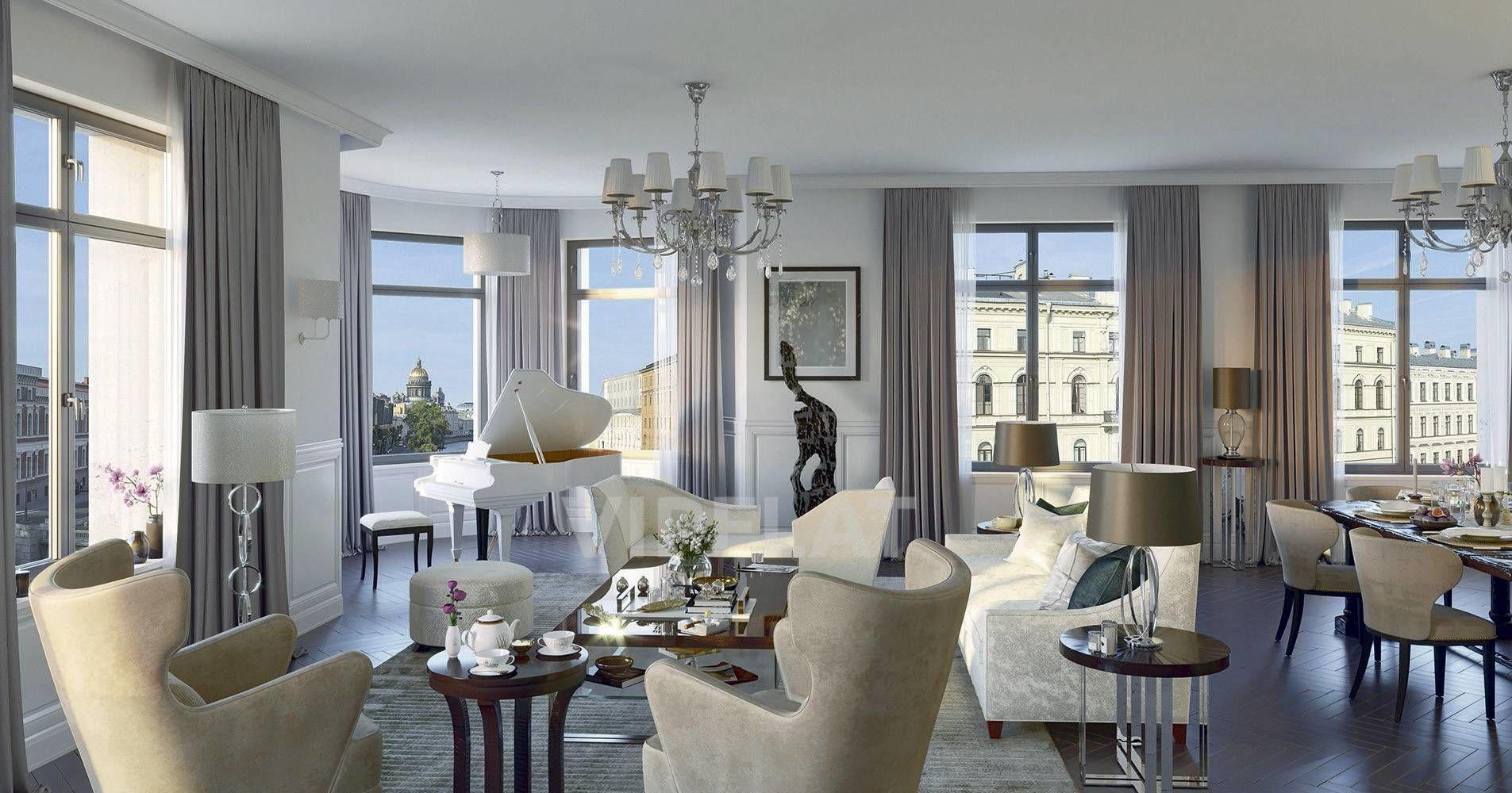 Продажа элитных квартир Санкт-Петербурга. «Art View House» Мойки реки наб., 102  Дизайн-проект гостиной