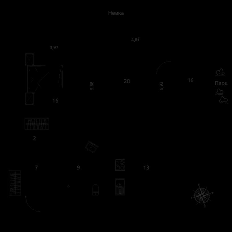Продажа элитных квартир Санкт-Петербурга. «Фаворит» Крестовский пр., 26  План квартиры