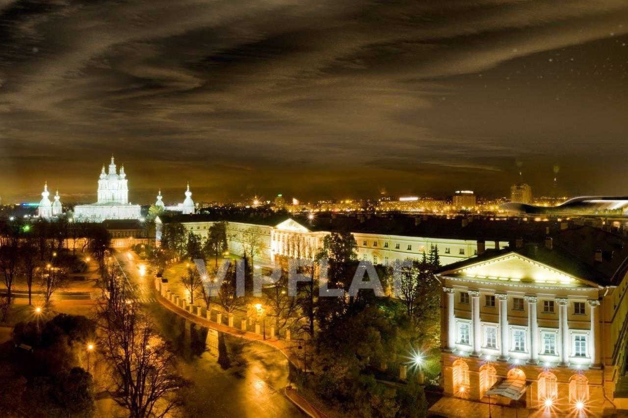 Продажа элитных квартир Санкт-Петербурга. Смольный пр., 6 Вид из окон. Ночь
